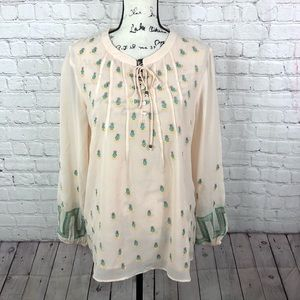 Sundance Silk Embroidered Peasant blouse